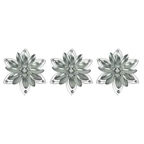 Jeweled 3D Metal Art Flower Wall Sculpture Set of 3