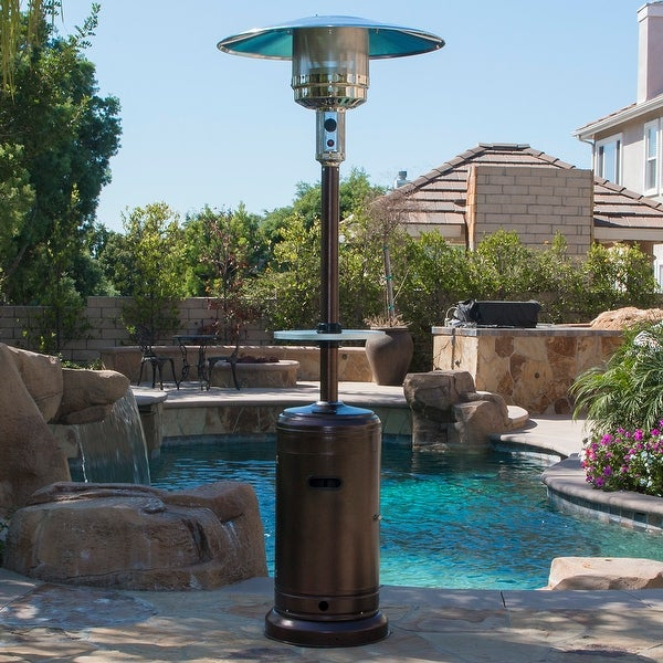 Belleze Patio Heater Propane with Adjustable Table, Hammered Tone Bronze -48,000BTU - standard
