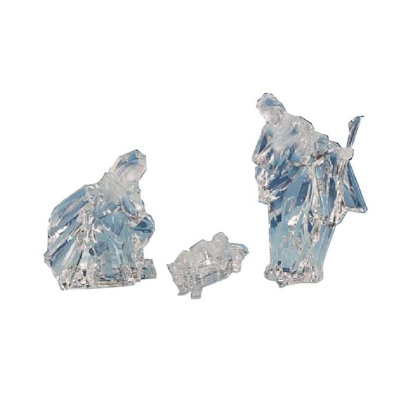 """Pack of 2 Icy Crystal Religious Holy Family Christmas Nativity Figurines 8"""""""