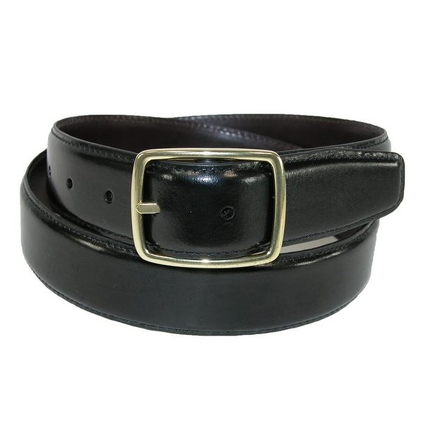Aquarius Men's Leather Gold Buckle Center Bar Reversible Belt