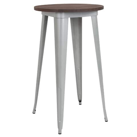 """24"""" Round Metal Indoor Bar Height Table with Rustic Wood Top - 24""""W x 24""""D x 41.5""""H"""