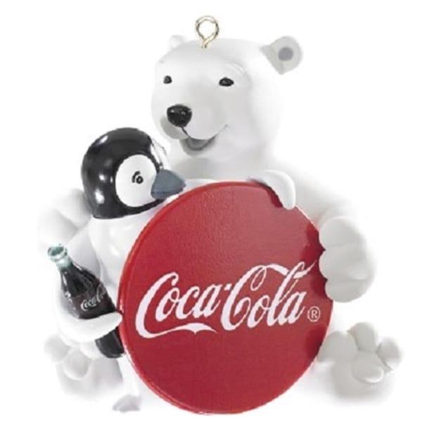 Carlton Cards Heirloom White Porcelain Coca-Cola Polar Bear with Penguin Christmas Ornament