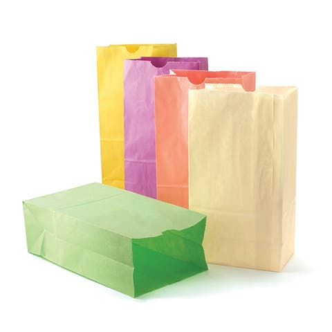 Gusseted Flat Bottom Paper Bags, Size #6, Pastel Assorted Colors, 28 Per Pack, 3 Packs