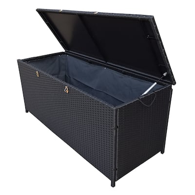 Indoor and Outdoor Balcony Patio Deck Porch Pool 113 Gallon Wicker Storage Box Trunk Bin with Metal Frame - N/A