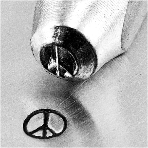 ImpressArt Metal Punch Stamp 'Peace Sign' 3mm (1/8 Inch) Design - 1 Piece