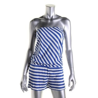 Ella Moss Womens Strapless Striped Romper Swim Cover-Up - M