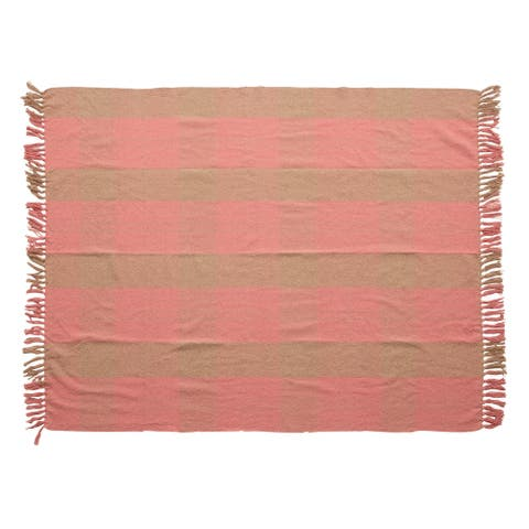 Woven Recycled Cotton Blend Plaid Throw, Pink & Tan Color
