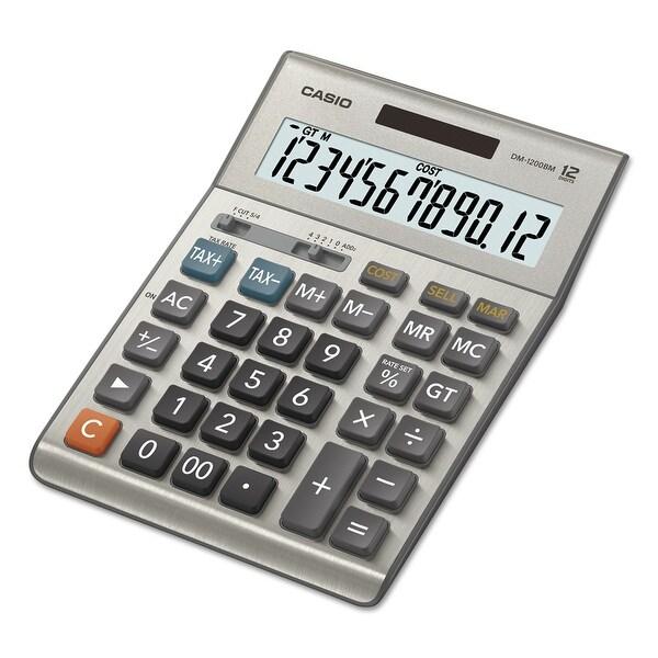 "Casio DM-1200BM Casio DM-1200BM Simple Calculator - Battery/Solar Powered - 1.4"" x 6.1"" x 8.2"""
