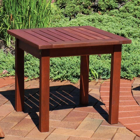 Sunnydaze Meranti Wood Side Table