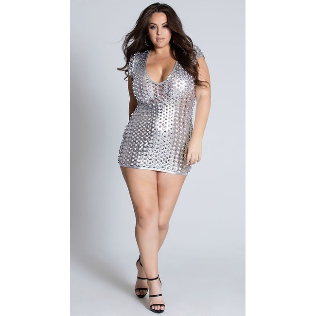 Plus Size See Right Thru You Cut Out Metallic Dress, Plus Size Hoty Silver  Mini Dress