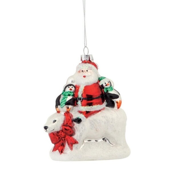 Pack of 6 Santa and Penguins Riding a Polar Bear Glass Christmas Ornament 5""