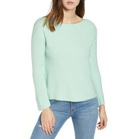 Leith Green Ghost Women's Size 4X Plus Boat Neck Knit Sweater