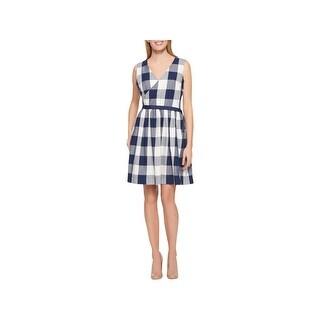 Tommy Hilfiger Womens Wrap Dress Check Print Side Tie