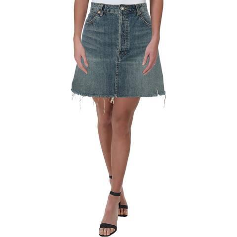 We The Free Womens Mini Skirt Denim Frayed Hem
