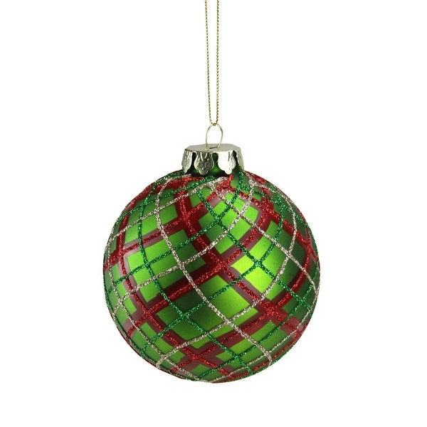 "3.25"" Holiday Moments Red, Green & Gold Plaid Glass Ball Christmas Ornament"