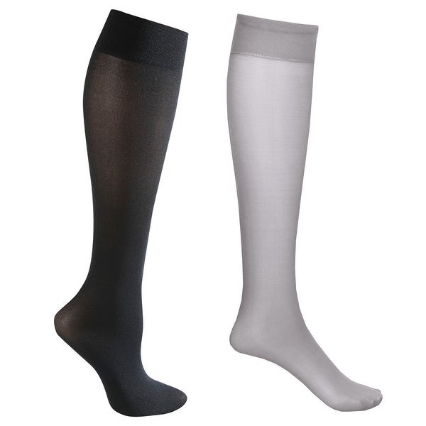 Mild Support 2 Pair Knee High Trouser Socks with 8-15 mmHg Compression - Grey/Black - Medium