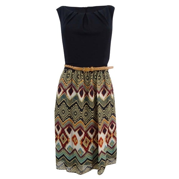 Connected Women's Petite Belted Printed Chiffon Dress - Black