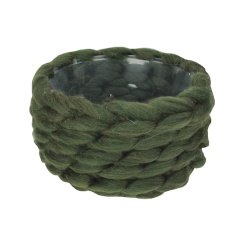 """7.5"""" Olive Green Knitted Wool Christmas Basket - N/A"""