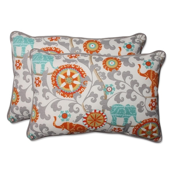 Set of 2 Orange and Gray Elephant Dreams Rectangular Outdoor Corded Throw Pillows 24.5""