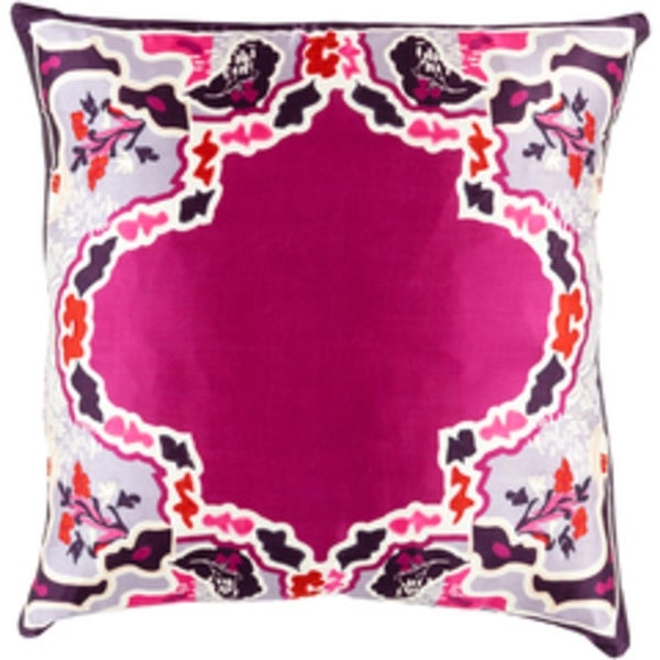 "20"" Metallic Mulberry Pink and Wine Purple Silk Floral Throw Pillow - Down Filler"
