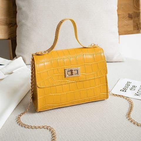 Crocodile Pattern Lock Buckle Portable Messenger Shoulder Bag