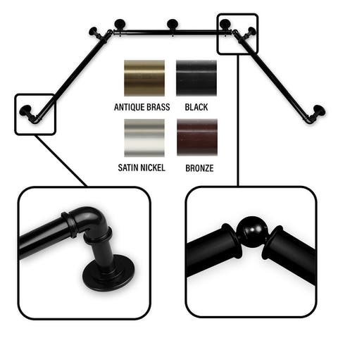 InStyleDesign 1 inch Pipe Style Bay Curtain Rod - n/a
