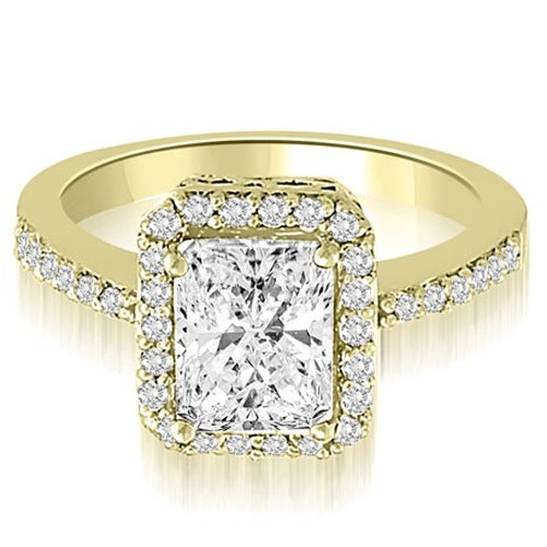1.00 cttw. 14K Yellow Gold Halo Emerald And Round Diamond Engagement Ring