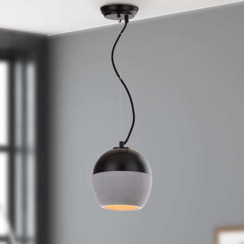 "Safavieh Lighting Kira Adjustable 1-light Grey / Black Pendant - 7.875""x7.875""x10-82"""