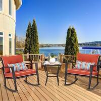 Costway 3 PCS Patio Rattan Wicker Furniture Set Rocking Chair Coffee Table W/Cushions - as pic