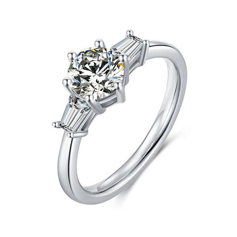 Platinum Plated Silver 1 CT Moissanite Engagement Ring andCZ Baguettes