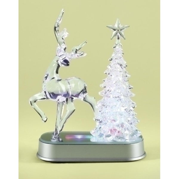 """7.25"""" Clear and Silver Colored LED Lighted Reindeer and Christmas Tree Table Top Figure"""