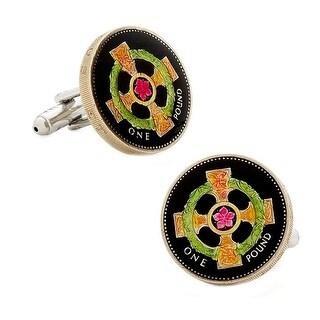 Hand Painted Irish Cross Coin Cufflinks
