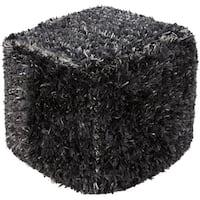 """18"""" Six Shades of Gray Stylish Shaggy Wool Square Pouf Ottoman"""