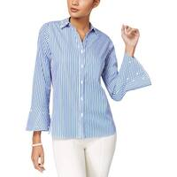 NY Collection Blue Women's Size XS Stripe Beaded Trim Blouse