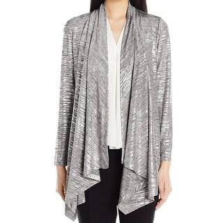 Calvin Klein NEW Silver Womens Size Medium M Metallic Draped Cardigan