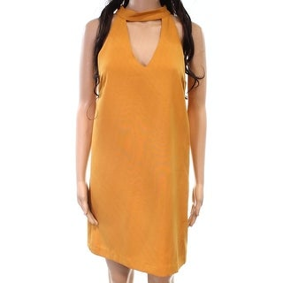 Lucy Paris NEW Mustard Yellow Womens Size M Halter Keyhole Shift Dress