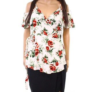 TopShop NEW Red Womens Size 4 Cold-Shoulder Rose Print Wrapped Blouse