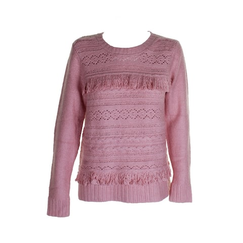 Kensie Soft Pink Long-Sleeve Fringe-Trim Cable Knit Crew Neck Sweater XL