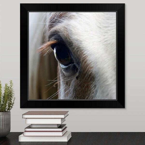 """""""Close up of White horse eye"""" Black Framed Print"""