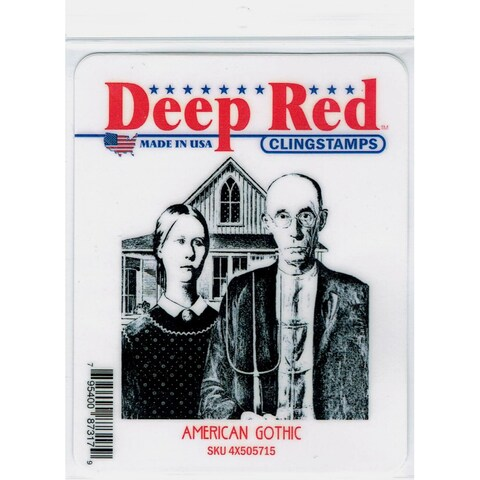 Deep Red Stamps American Gothic Rubber Cling Stamp - 3 x 3.1