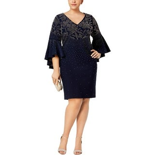 Betsy & Adam Womens Plus Cocktail Dress Embellished Party