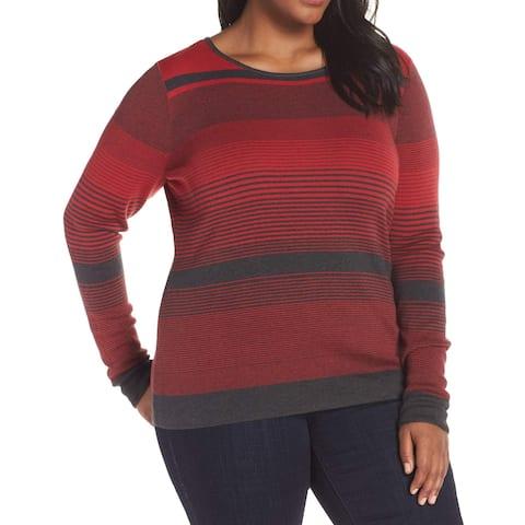 NIC+ZOE Women's Red Size 3X Plus Striped Scoop Neck Crewneck Sweater