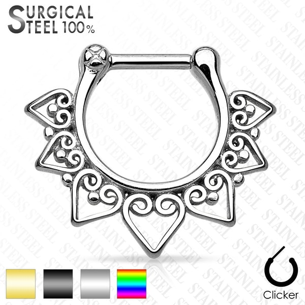Tribal Fan 316L Surgical Steel Septum Clicker (Sold Ind.)