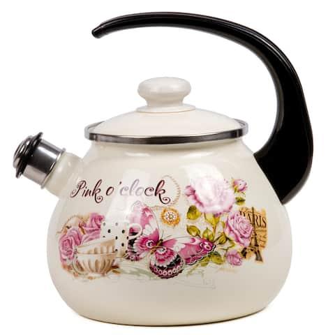 STP-Goods 2.6 Qt Pink O'clock Enamel on Steel Whistle Tea Kettle.