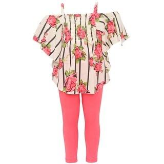 Girls Ivory Stripe Floral Print Off-Shoulder Top 2 Pc Legging Set