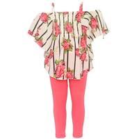 Little Girls Ivory Stripe Floral Print Off-Shoulder Top 2 Pc Legging Set