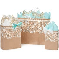 Pack Of 125, Assortment Lace Borders Recycled Kraft Paper Shopping Bag 50 Rose, 50 Cub & 25 Vogue Made In Usa