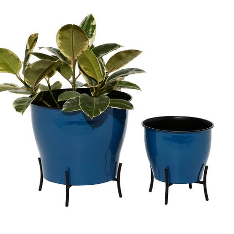 Round Enamel Metal Planters with Inlay And Stand, Set Of 2 - 12 x 12 x 12Round