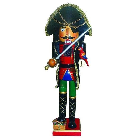 "15"" Buried Treasure Pirate Wooden Christmas Nutcracker with Parrot and Cutlass"