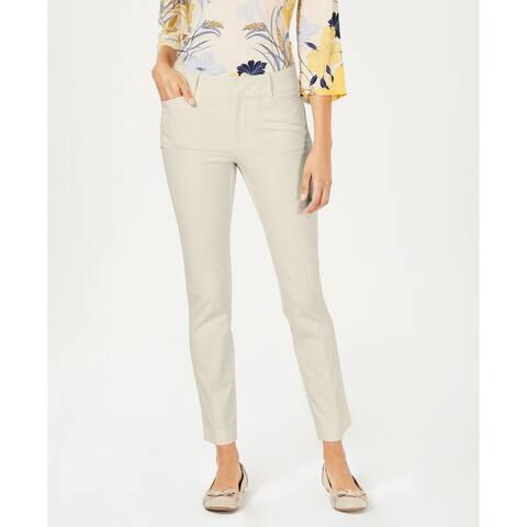 Charter Club Women's Petite Newport Tummy-Control Slim-Fit Pants Beige Size 6